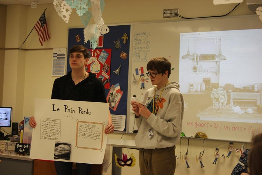 Josh Garza (10) opens up the French presentations by being one of the first to people to present. The presentations were about a French recipe.
