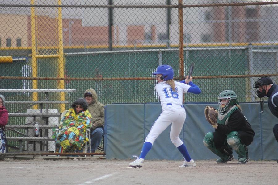 Lauren+Damron+%289%29+gets+ready+for+the+next+play.+Damron+played+in+the+infield+that+game.+