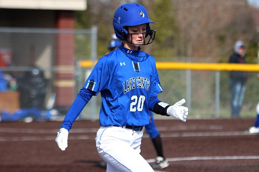 Alexa+Sherlund+%2812%29+walks+to+the+first+base.+The+next+game+is+April+17.
