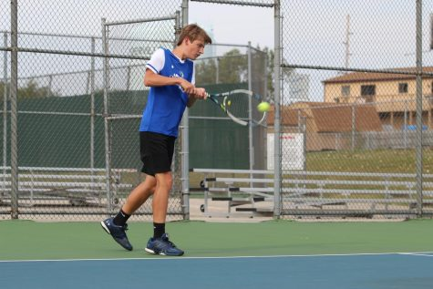 JV tennis victory against LaPorte