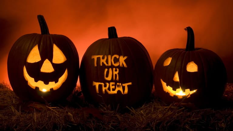 Halloween is celebrated on the last day of October every year: Oct. 31.  On this holiday, children dress up in costumes and go knocking on doors asking for candy.