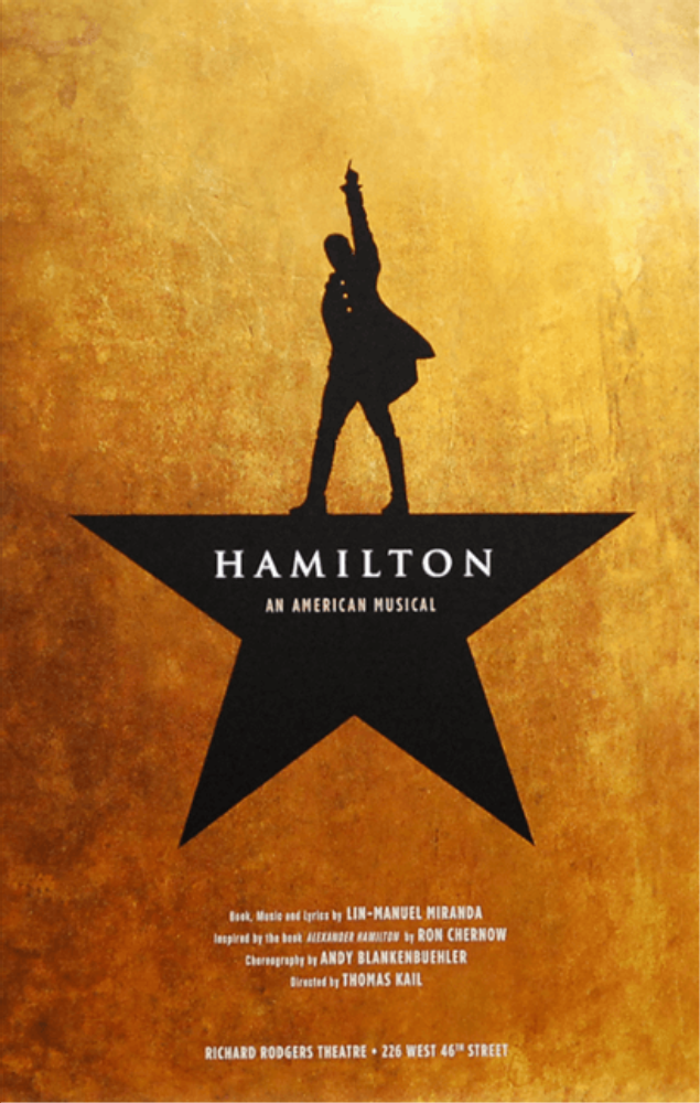 The most recognizable poster for Hamilton. It debuted in 2015.