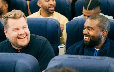 "After multiple canceled ""Carpool Karaoke"" appearances, Kanye West finally joins James Corden. Corden and West are seen laughing after performing Jesus Walks."