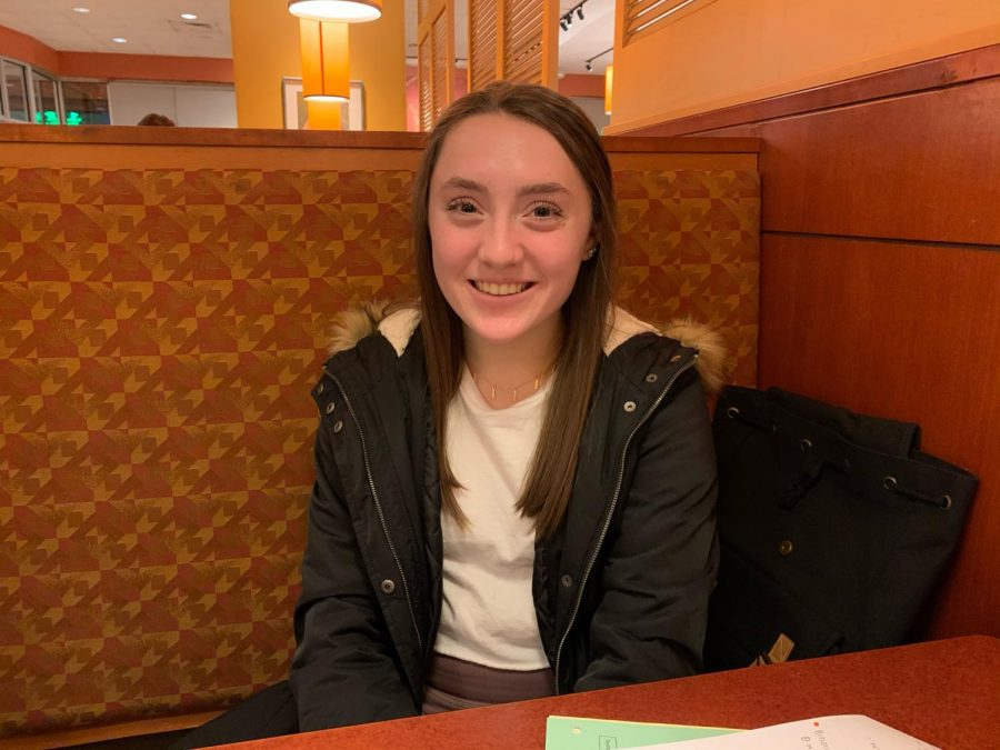 Gwen Schilling (10) speaks on the upcoming track season and new events.  She is planning on continuing her event in hurdles, with the addition of pole-vaulting.