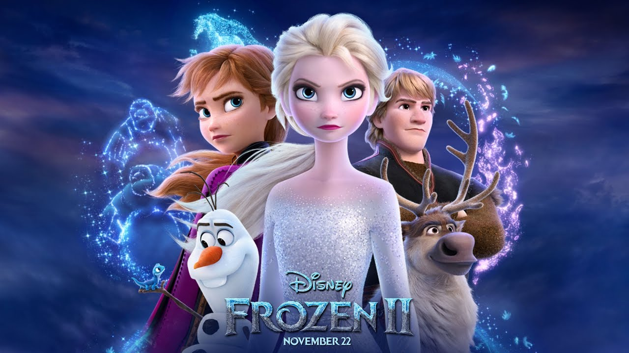 The Frozen II poster advertises the new movie by showing all the main characters. Disney released the film on Friday, Nov. 22, 2019.