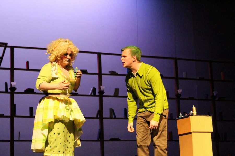 Sydney DeLisle (12) and Alex Kohut (11), who plays Mr. Wormwood, perform a scene right after Mr. Wormwood accidentally dyes his hair green. He then proceeded to yell at Matilda because she was the one who did it.