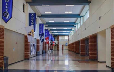 As seen usually busy during passing period, Main Street remains empty while students and staff members are at home. For the next six weeks, Lake Central schools will continue to be closed. Photo by: Joshua Chen