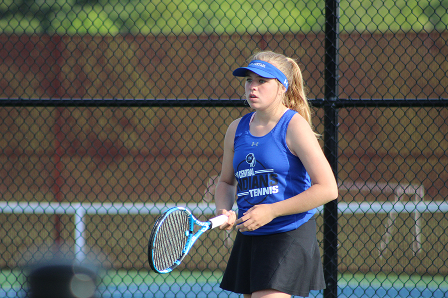 Caption: Lake Central tennis player, Isabella Watts (12), played at Crown Point High School on May 16, 2019. This was the last game of the season and they did not move onto regionals.