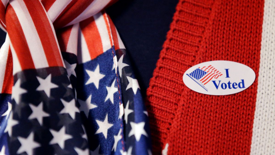 A sticker displayed on a voter's sweater after voting. Due to COVID-19, election procedures have slightly changed.
