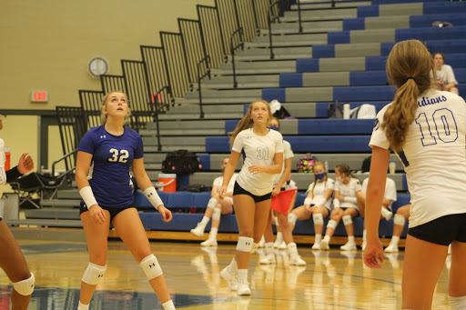 The JV Girls Volleyball team prepares to hit the ball back to Valparaiso. The girls won both of their matches.