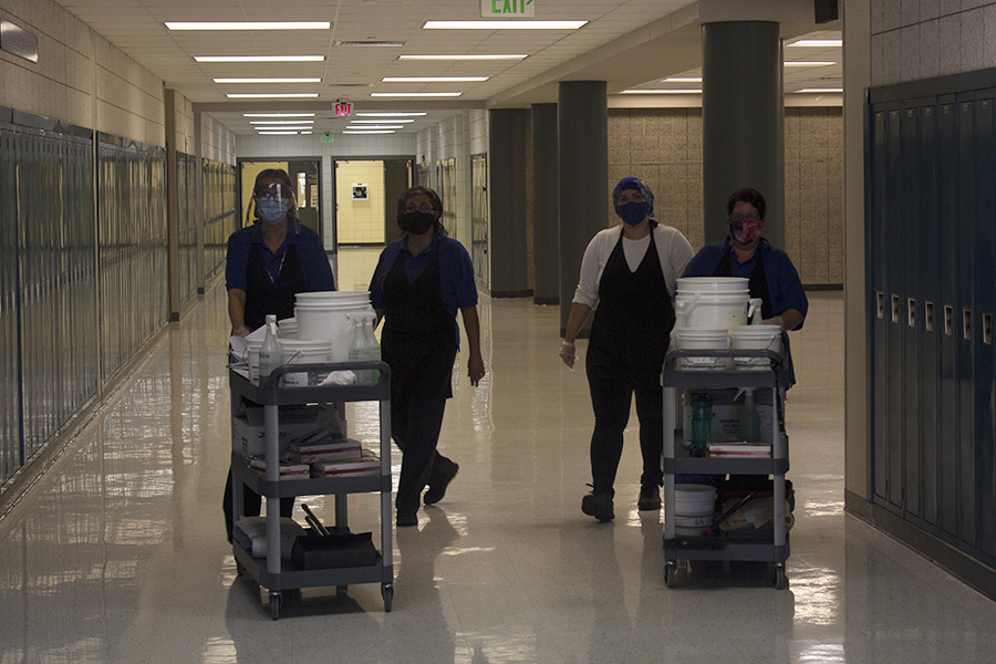 Senior year looks very different for the class of 2021. One of the things that changed is that students have to wear masks all day and get their classrooms cleaned.