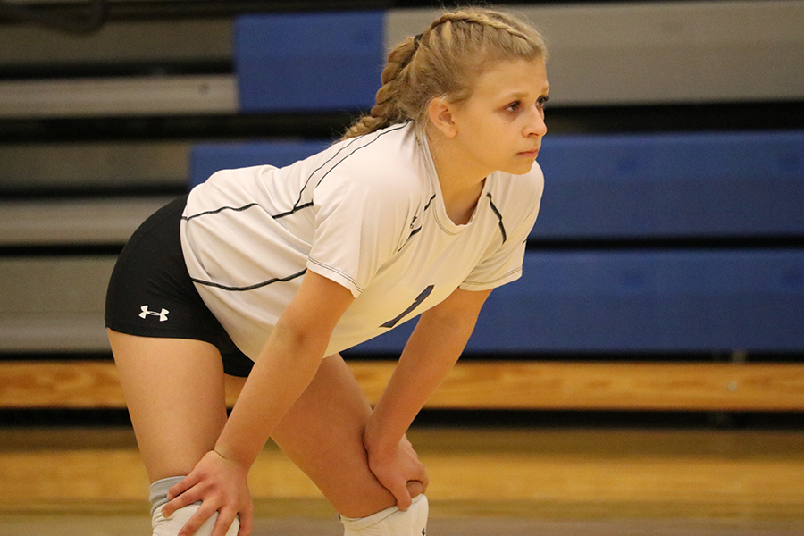 Isabella+Born+%289%29+gets+into+position+as+she+waits+for+the+volley+to+begin.+Born+had+a+great+save+that+her+teammates+celebrated+her+for.+