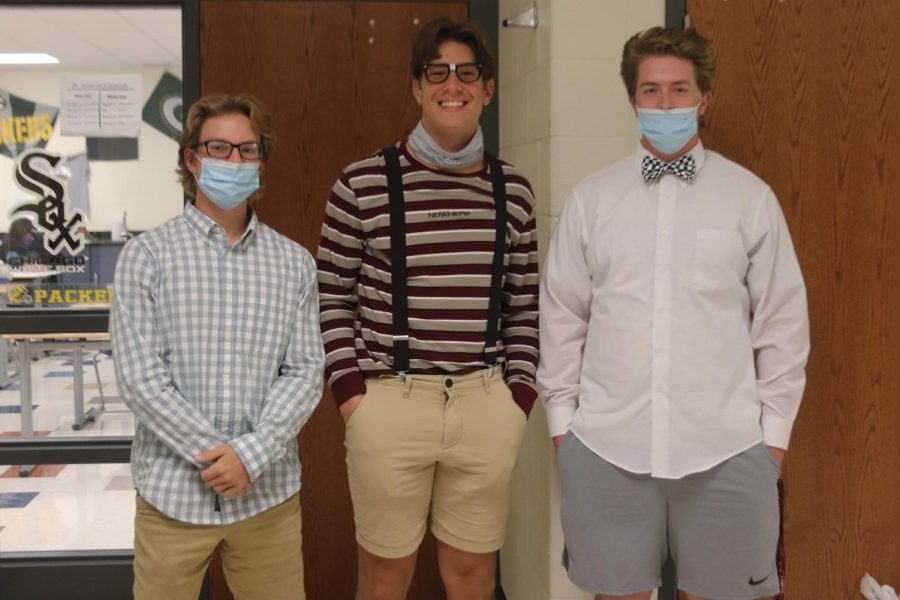 """On Monday, students participated with the theme """"nerd day.""""  Students like Evan Caposey (12), Logan Kwaitkowski (12), and Jacob Piper (12) clipped on their suspenders, tied their bowties, and slid on their thick rimmed glasses."""