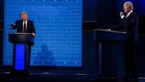 "The two presidential candidates, Donald Trump (R) and Joe Biden (D), loudly interrupt one another while illustrating the menacing fate of our nation to 73 million viewers during the first presidential debate. The event took place in Cleveland, Ohio, with the two ""discussing"" some of our nation's most pressing issues from two socially distant podiums."