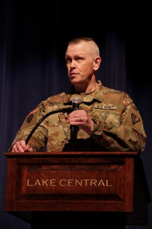 Begley speaks about his experiences in the military and at Lake Central. He had just gotten promoted to Colonel.
