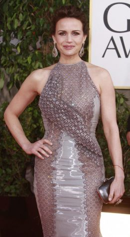 This is Carla Gugino from the Golden Globes in 2013. She played the storyteller in The Haunting of Bly Manor.