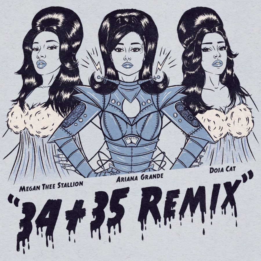 Ariana Grande, Doja Cat and Meghan Thee Stallion come out with a remix of Grande's single ¨34+35¨. They released the remix on Jan. 14 along with a lyric music video