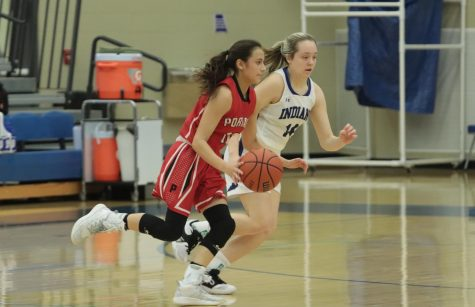 The girls play against Portage during their last game of the season.  They took home the win with a score of 42-27.