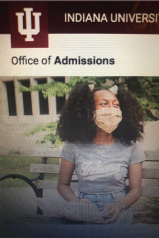 A girl poses in IU gear in an email sent out to students. Colleges have been sending emails like this one to advertise their colleges.