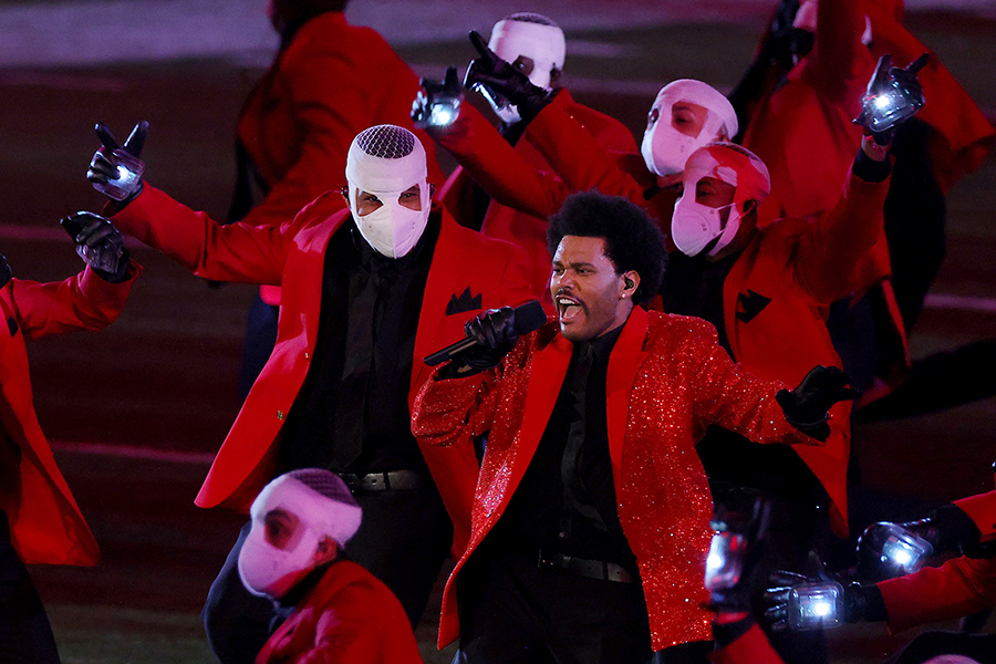 The Weeknd performs during the Pepsi Super Bowl LV Halftime Show at Raymond James Stadium on Sunday, February 7, 2021 in Tampa, Florida. (Kevin C. Cox/Getty Images/TNS)
