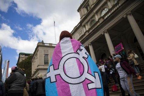 This is a photo that was taken at a protest. The person was wearing a transgender flag.