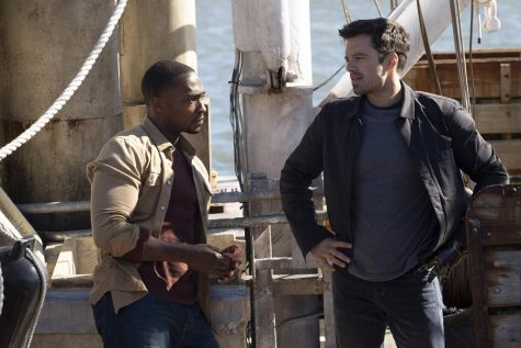 "Sam Wilson, played by Anthony Mackie, and Bucky Barnes, played by Sebastian Stan, star in the new Disney+ show ""The Falcon and the Winter Soldier."" The show takes place after Avengers: Endgame."