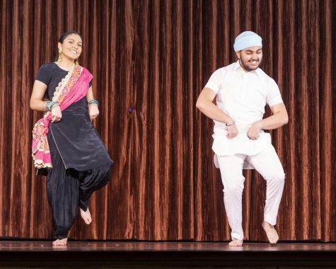 Parneet Gill (10) and her dance partner perform at Hum night 2021. Parneet Gill attended Hum night every year.