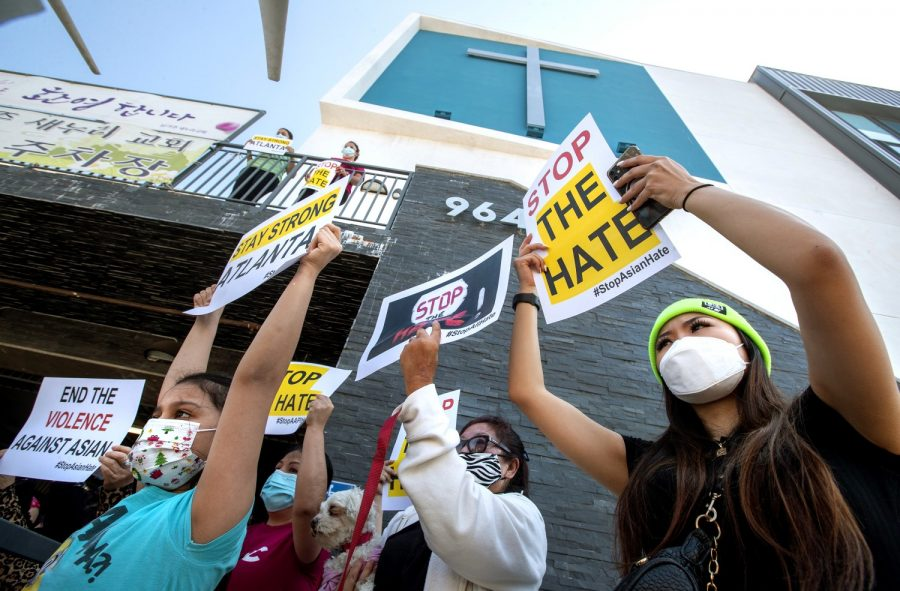 A group of people protest against anti-Asian hate crimes. A surge of these has been occurring because of the pandemic. (Mel Melcon/Los Angeles Times/TNS).