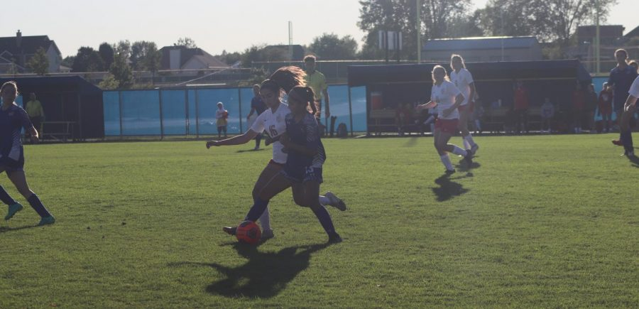 Francessca DeLuca (10) goes to steal the ball from number 15 on Andrean's team. She raced up by the Andrean player to get the ball back.