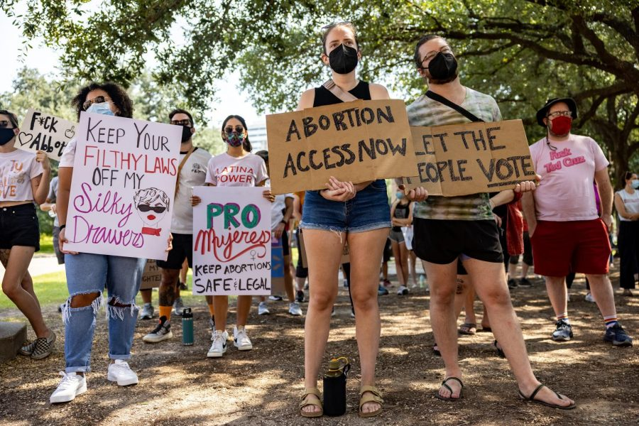 Abortion rights activists rally at the Texas State Capitol on Sept. 11, 2021, in Austin, Texas. The rally continued for hours. (Jordan Vonderhaar/Getty Images/TNS)